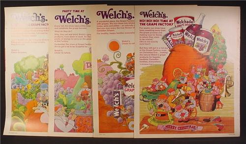 Lot of 4 Magazine Ads for Welch's Grape Drink, Grape Jam, Grape Jelly, Welchade, 1973 and 1974