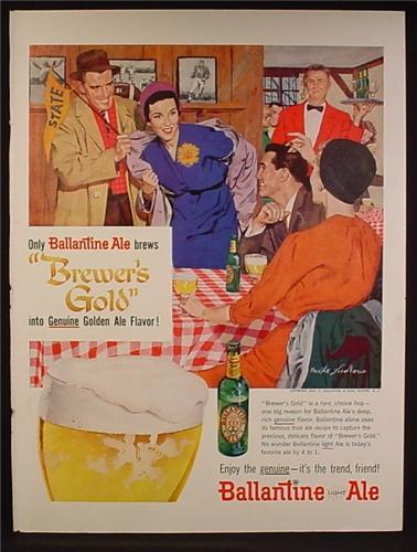 Magazine Ad For Ballantine XXX Ale Beer, Drinks After Football Game, 1957
