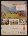 Magazine Ad For Canadian Club Whisky, Baseball's Grandpa, Swiss Game of Hornussen, 1957