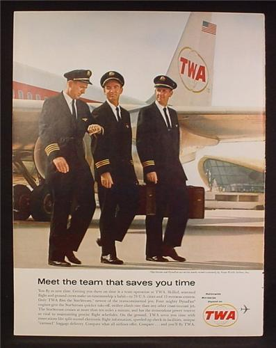 Magazine Ad For TWA Trans World Airlines, Pilots Walking Away From Airplane, 1962