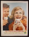Magazine Ad For Pepsi Pepsi-Cola, Man & Pretty Woman Drinking From Paper Cups, 1962