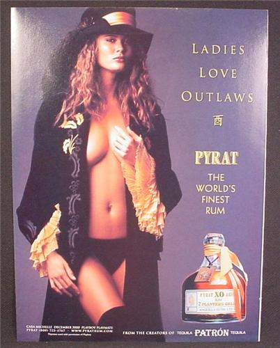 Magazine Ad For Pyrat Rum, Sexy Cara Michelle Playmate in Black Open Robe, 2001