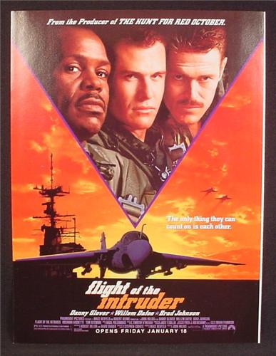 Magazine Ad For Movie Flight Of The Intruder, Danny Glover, William Defoe, 1991