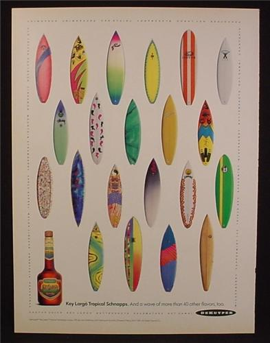 Magazine Ad For DeKuyper Key Largo Tropical Schnapps, 21 Different Surfboards, Surfing, 1991