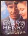 Magazine Ad For Movie Regarding Henry, Harrison Ford, Annette Bening, 1991, 8 1/8 by 10 7/8