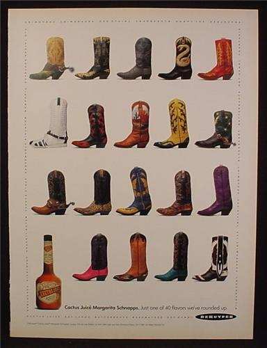 Magazine Ad For DeKuyper Cactus Juice Margarita Schnapps, 24 Different Cowboy Boots, 1991