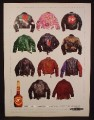 Magazine Ad For DeKuyper Hot Damn Cinnamon Schnapps, 11 Different Leather Jackets, 1991