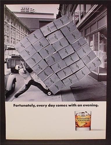 Magazine Ad For Windsor Canadian Whiskey, Guy Trying To move 28 Cases On Small Cart, 1991
