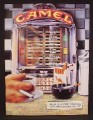 Magazine Ad For Camel Cigarettes, Restaurant Diner Table Top Juke Box, JukeBox, 1991