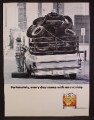 Magazine Ad For Windsor Canadian Whiskey, Truck Full Of Tires Has A Flat Tire, Funny, 1991