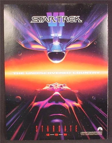 Magazine Ad For Movie Star Trek The Undiscovered Country, Stardate 12-13-91, 1991