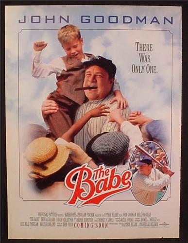 Magazine Ad For Movie The Babe, John Goodman, Kelly McGillis, 1992, 8 1/8 by 10 7/8