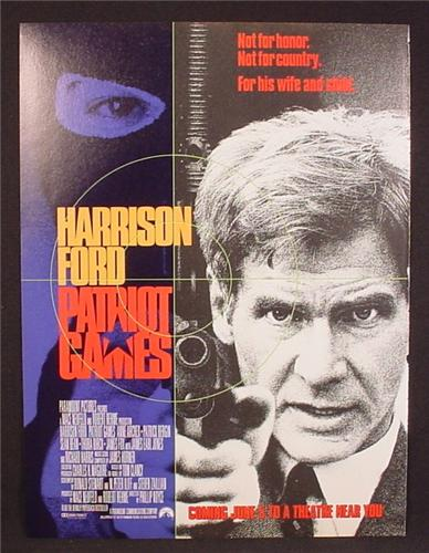 Magazine Ad For Movie Patriot Games, Harrison Ford, Anne Archer, James Earl Jones, 1992