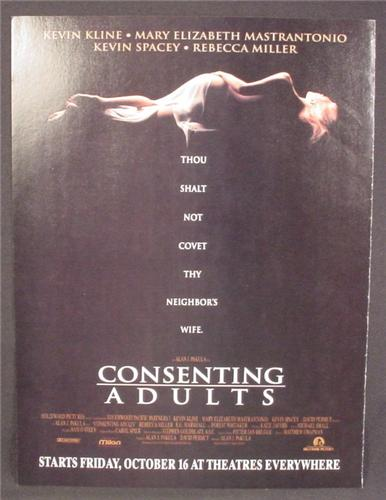 Magazine Ad For Movie Consenting Adults, Kevin Spacey, Mary Elizabeth Mastrantonio, 1991