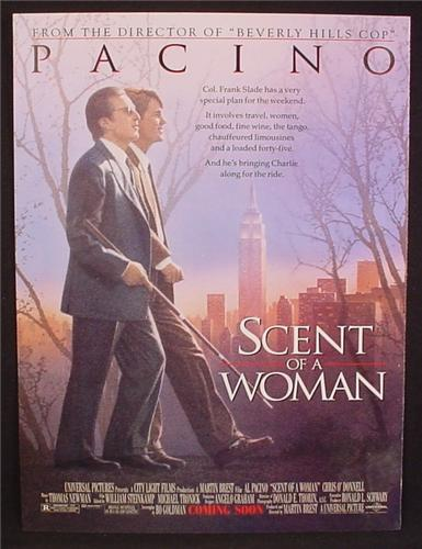 Magazine Ad For Movie, Scent Of A Woman, Al Pacino, Chris O' Donnell, Poster, 1992