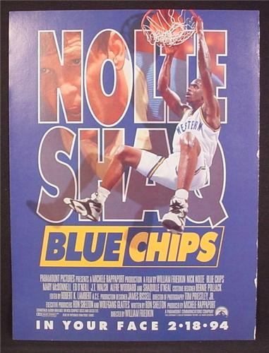 Magazine Ad For Movie, Blue Chips, Nick Nolte, Shaq, Basketball Movie, Poster, 1994