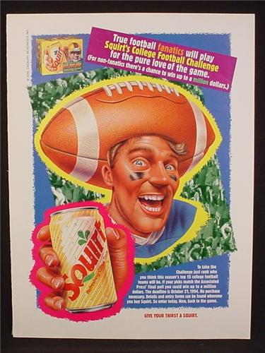 Magazine Ad For Squirt Soft Drink, Man With Football On Head, 1994, 8 1/8 by 10 7/8