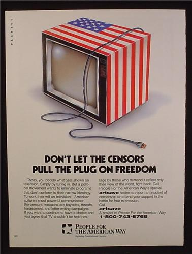 Magazine Ad For People For The American Way, TV Set Wrapped In US Flag, 1995