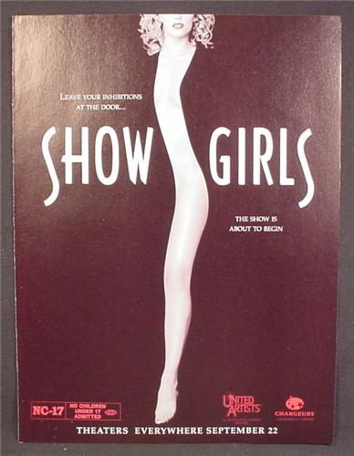 Magazine Ad For Movie, Showgirls, Show Girls, Leave Your Inhibitions At The Door, 1995