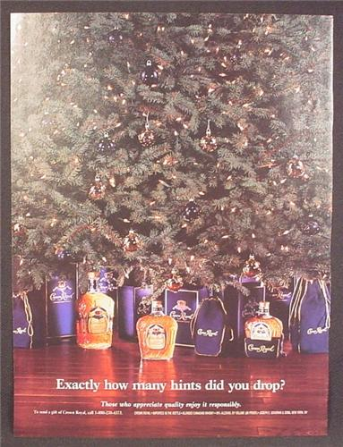 Magazine Ad For Crown Royal Whiskey, Bags Boxes & Bottles Under Christmas Tree, 1996