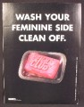 Magazine Ad For Fight Club Movie, Wash Your Feminine Side Clean Off, Pink Bar Of Soap, 1999