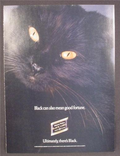Magazine Ad For Johnnie Walker Black Label Scotch Whiskey, Black Cat With Orange Eyes, 1990