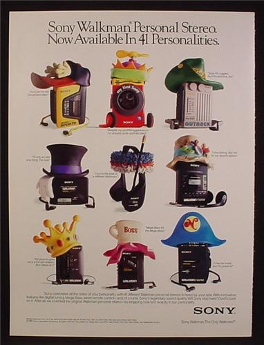 Magazine Ad For Sony Walkman, 9 Different Walkmans With Different Hats, 1991, 8 1/8 by 10 7/8
