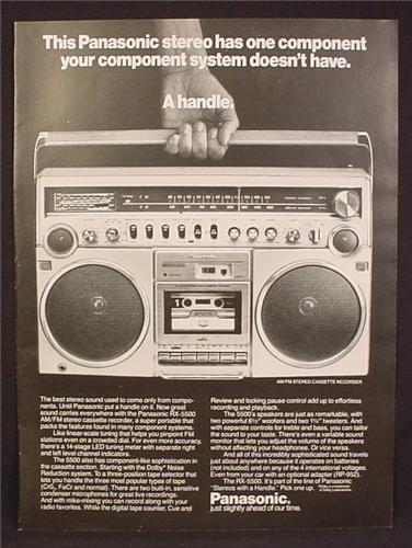 Magazine Ad For Panasonic Portable Stereo, Model RX-5500, RX 5500, Boom Box, 1980