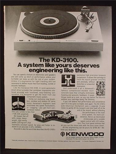 Magazine Ad For Kenwood KD-3100 Stereo Turntable, Record Player, Hi Fi, Electronics, 1980