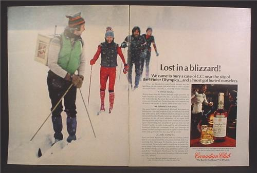 Magazine Ad For Canadian Club Whiskey, Lost In A Blizzard, Whisky, 1980, Double Page Ad