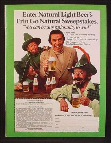Magazine Ad For Natural Light Beer Sweepstakes, Men Dressed as Leprechauns, 1980