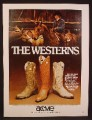 Magazine Ad For Acme Cowboy Boots, The Westerns, 2 Styles, Horses In Corral, 1980