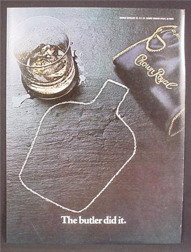 Magazine Ad For Crown Royal Whiskey, Bottle Shape Chalk Line, The Butler Did It, Whisky, 1980