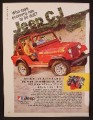Magazine Ad For Jeep Renegade CJ Red Car In Sand Dunes, Economy Has To Be Dull, 1980