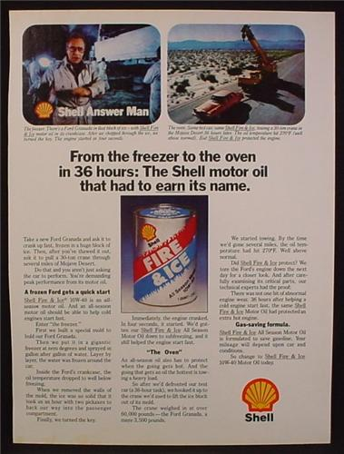 Magazine Ad For Shell Fire & Ice Motor Oil, Oil Can, Shell Answer Man, 1980, 8 1/8 by 10 7/8