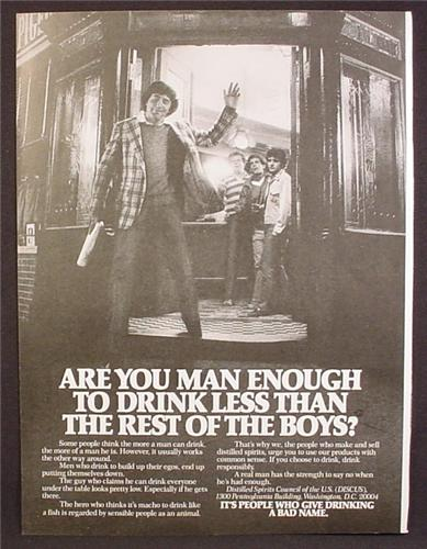 Magazine Ad For Are You Man Enough To Drink Less Than The Rest Of The Boys, 1980