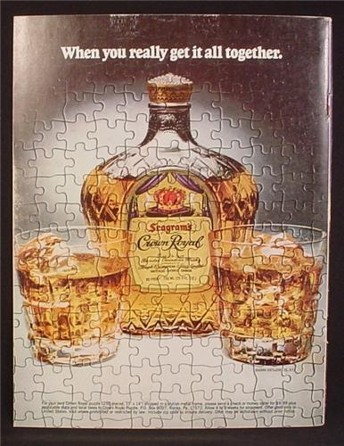 Magazine Ad For Crown Royal Whiskey, Jigsaw Puzzle, When You Really Get It All Together, 1980