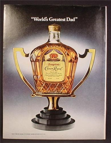 Magazine Ad For Crown Royal Whiskey, Bottle Built Into A Trophy, World's Greatest Dad, 1980