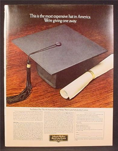 Magazine Ad For Johnnie Walker Scotch, Graduate Hat, Most Expensive Hat In America, 1980