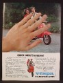 Magazine Ad For Vespa Red Scooter, Hand In Front, Quick What's A Vespa, 1980, 8 1/8 by 10 7/8