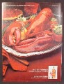 Magazine Ad For Johnnie Walker Red Scotch, Giant Cooked Lobster, 1980, 8 1/8 by 10 7/8