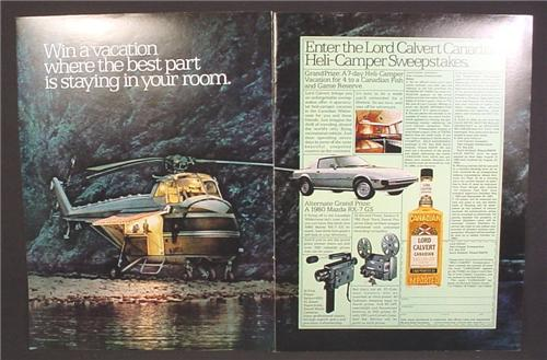 Magazine Ad For Lord Calvert Canadian Whiskey Contest, Helicopter Converted  To A Camper, 1980