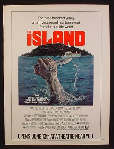 Magazine Ad For The Island Movie, Michael Caine, Thriller, Poster, 1980, 8 1/8 by 10 7/8