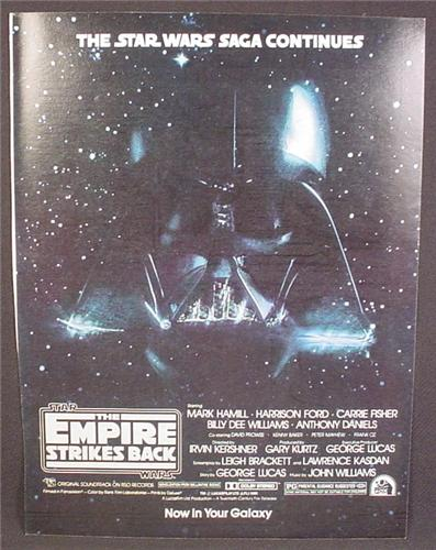 Magazine Ad For Star Wars The Empire Strikes Back Movie, Darth Vader, Poster, 1980