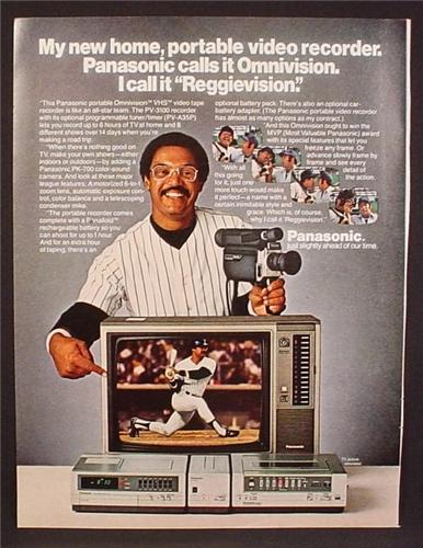 Magazine Ad For Panasonic Omnivision Portable Video Recorder, Reggie Jackson, Celebrity 1980