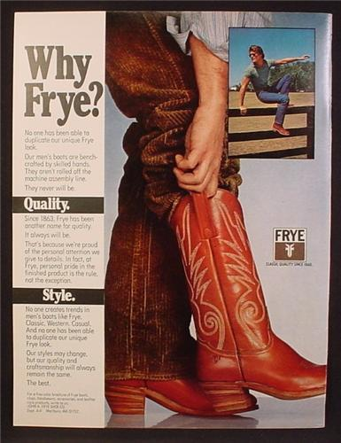 Magazine Ad For Frye Cowboy Boots, Quality, Style, 1980, 8 1/8 by 10 7/8