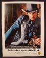 Magazine Ad For Dan Post Cowboy Boots, Smile When You Say Dan Post, 1980, 8 1/8 by 10 7/8