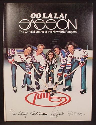 Magazine Ad For Sasson Jeans, Official Jeans Of The New York Rangers, Signatures, 1980