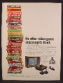 Magazine Ad For Atari Game System, 40 Different Game Cartridges Stacked Up, 1980