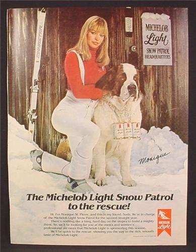 Magazine Ad For Michelob Light Beer Ski Patrol, St Bernard Dog with 6 Pack Of Cans, Skis, 1981